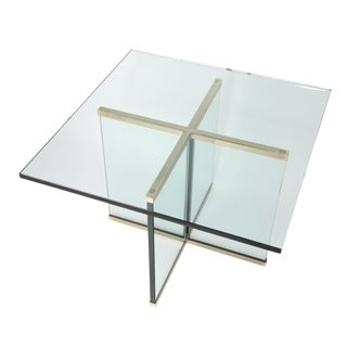 1970s Mid-Century Modern Leon Rosen for Pace Collection Brass and Glass Side Table For Sale