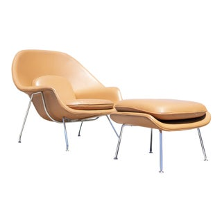 Tan Leather Knoll Womb Chair and Ottoman Eero Saarinen Mid-Century Modern