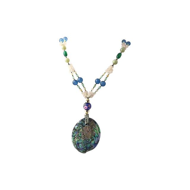 Abalone, Gemstone & Art Glass Necklace For Sale