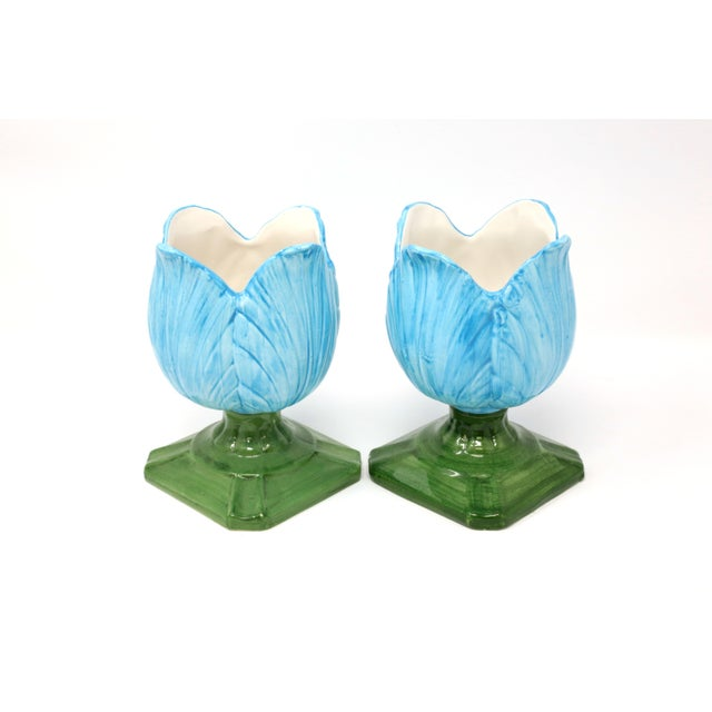 Ceramic Blue Tulip Planters - a Pair - Image 2 of 10