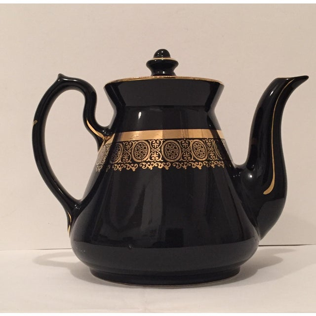 "Black and Gold Hollywood Regency ""Hall Usa"" Teapot - Image 5 of 9"