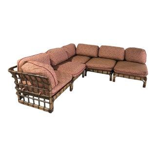 Vintage Rattan Sectional Sofa For Sale