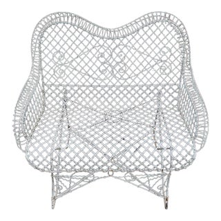 Vintage Mid Century Wire Mesh Loveseat Settee Outdoor Bench For Sale