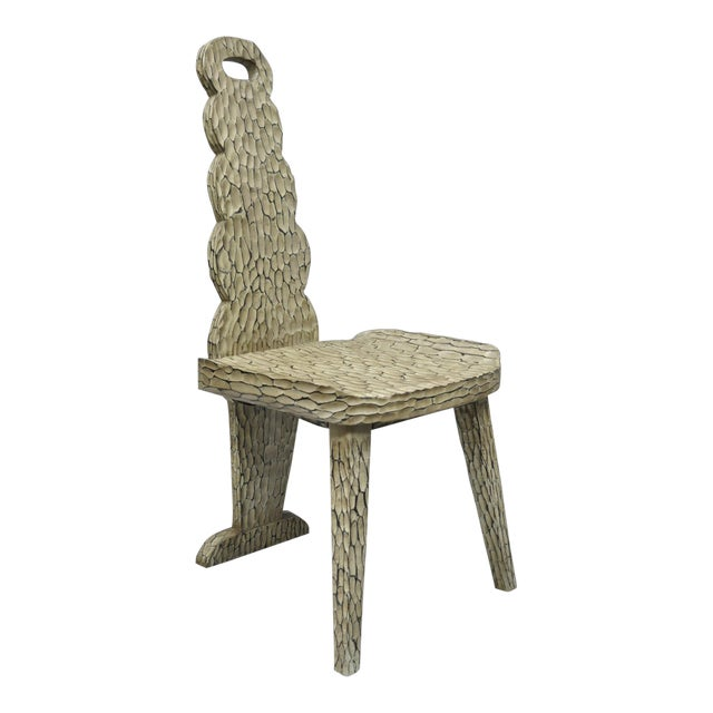 Contemporary High Back Carved Wood Side Chair For Sale