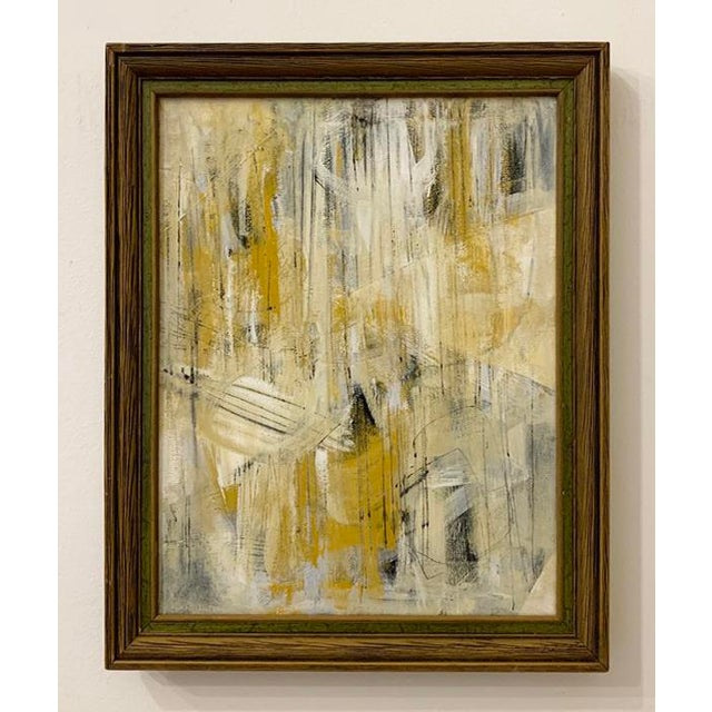 This abstract acrylic painting is framed in a vintage mid-century style frame with green trim. The artwork is original and...