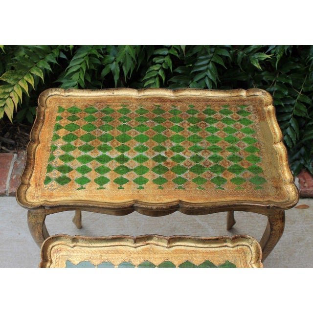 Vintage Italian Gold & Green Tole Nesting Tables Gilt Florentine Set of 3 For Sale - Image 10 of 13