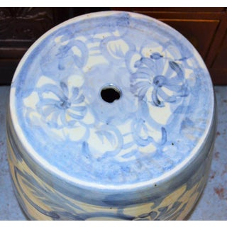 Chinoiserie Blue and White Abstract Lotus Garden Stool Preview