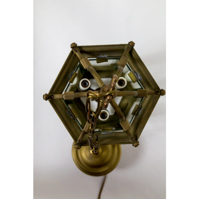 Gold Mid-Century Italian Pagoda-Esque Bronze & Beveled Glass Lantern For Sale - Image 8 of 12