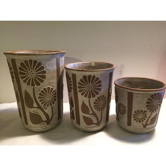 This is a set of three canisters/vases designed by David Stewart for Lion's Valley. They have a beautiful earthy glaze...