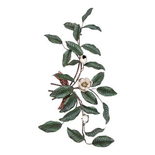 Italian Painted Tole Magnolia Branch For Sale