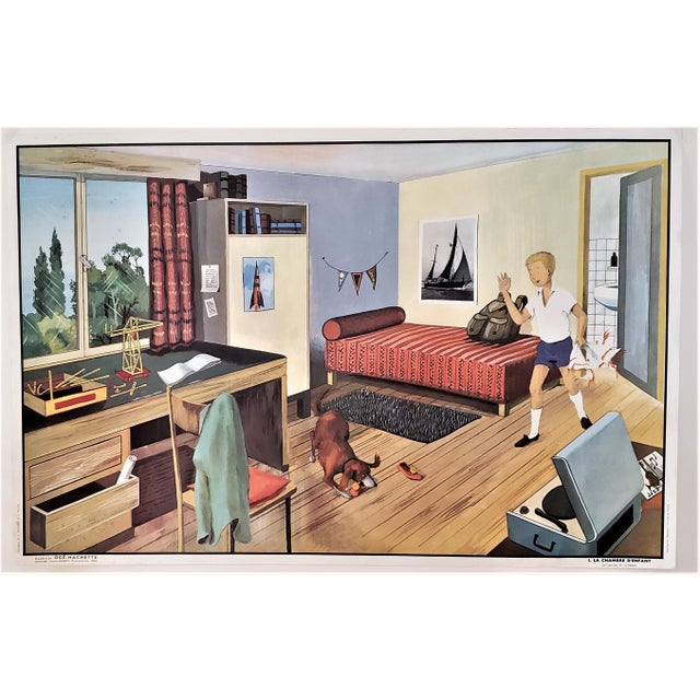 1960s Mid-Century French Double Sided School Poster-Circus, Boy's Room For Sale - Image 5 of 9