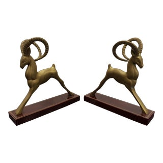 1970s Art Deco Style San Pacific Brass Gazelles on Wood Bases - a Pair For Sale