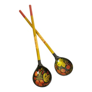 Vintage Russian Lacquerware Salad Servers For Sale
