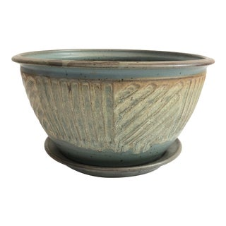 Large Vintage Studio Pottery Planter With Dish For Sale