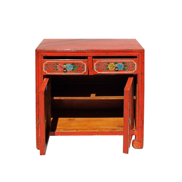 Elm Chinese Distressed Orange Red Flower Graphic Table Cabinet For Sale - Image 7 of 8