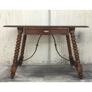 18th Spanish Revival Refectory Desk Table With One Drawer Preview