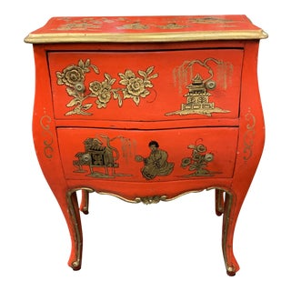 20th Century Asian Red Hand Painted Accent Table For Sale