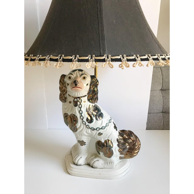 Antique English Staffordshire Spaniel Dog Lamps - A Pair - Image 2 of 9