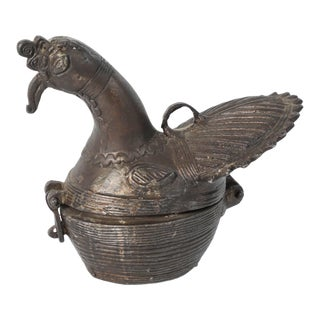 Indian Patinated Bronze Peacock Box For Sale