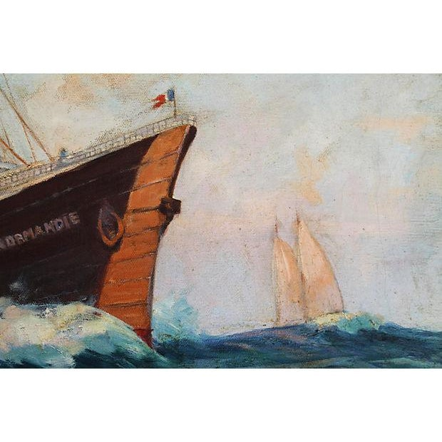 French Oil Painting S S Normandie Oceanliner For Sale In Las Vegas - Image 6 of 8