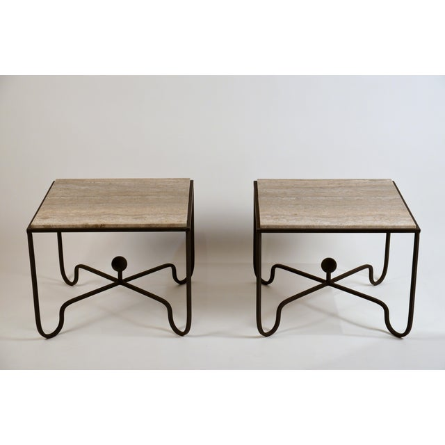 Pair of large 'Entretoise' silver travertine side tables by Design Frères. Great as sofa end tables or as a 2 part coffee...
