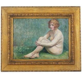 Maurice-Jean Lefebvre Art Deco Female Nude Painting