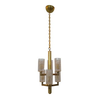 1960s Modern Crystal and Brass Light For Sale