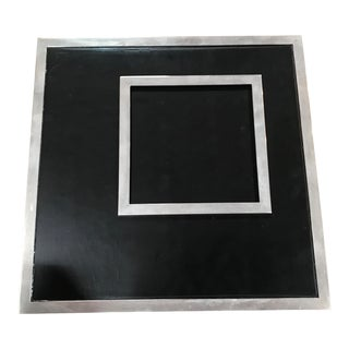 1970s Vintage Italian Chrome and Black Wood Square Picture Photo Frame