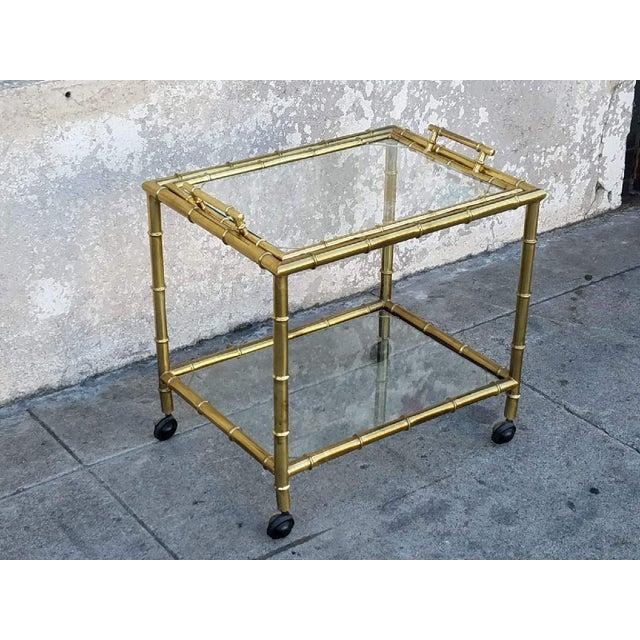 Vintage Gold Bamboo Bar Cart - Image 2 of 5