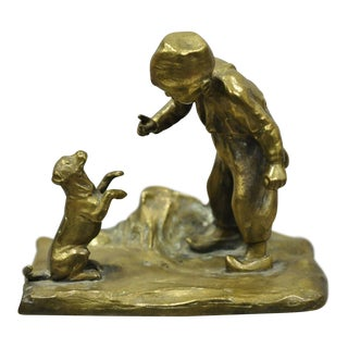 """Early 20th Century Viennese Gruber Vienna 4"""" Bronze Figurine of a Boy Training a Dog For Sale"""