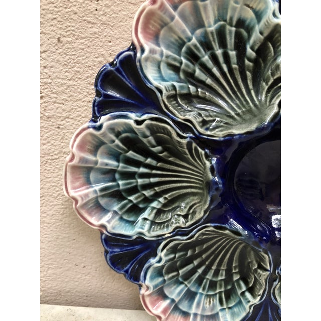 French C.1890 Very Rare French Majolica Oyster Plate Fives Lille For Sale - Image 3 of 11