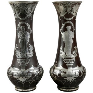 Pair of French Art Glass Vases With Silver Overlay For Sale