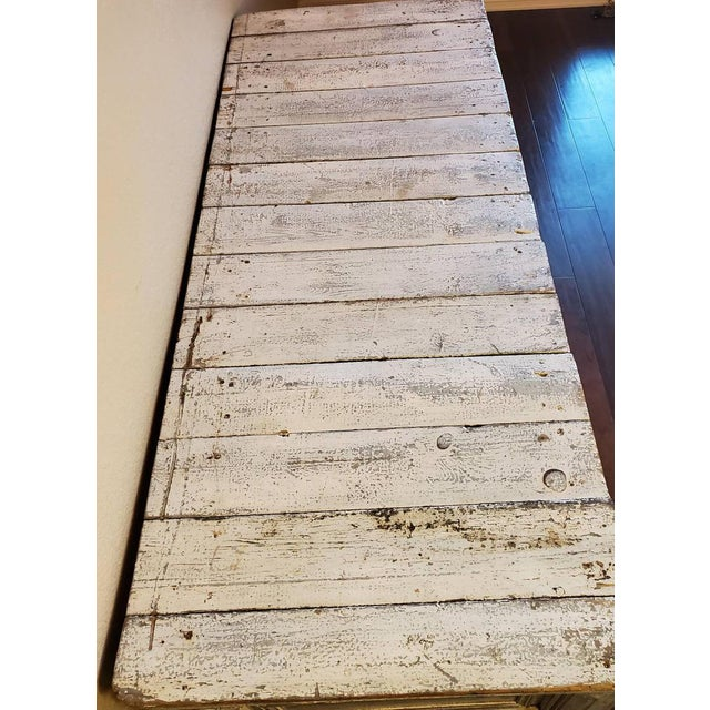 Wood Antique Distressed Painted Plank Top Console Table For Sale - Image 7 of 11