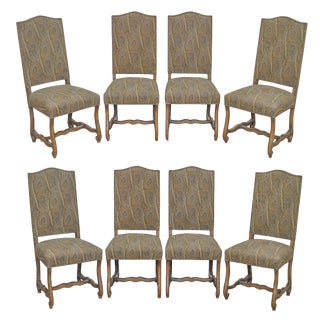 French Louis XIII Os De Mouton Style Custom Upholstered Dining Chairs - Set of 8