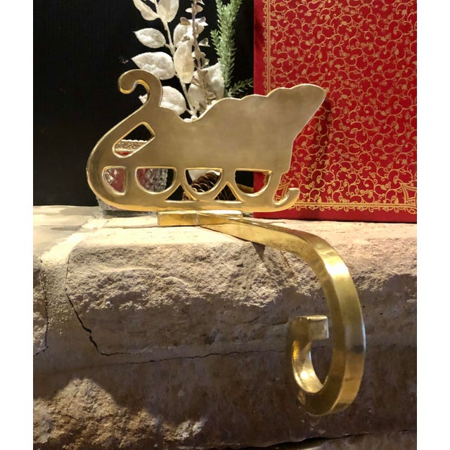 Late 20th Century Vintage Brass Stocking Hanger Christmas Sleigh Mantle Hook For Sale - Image 5 of 9