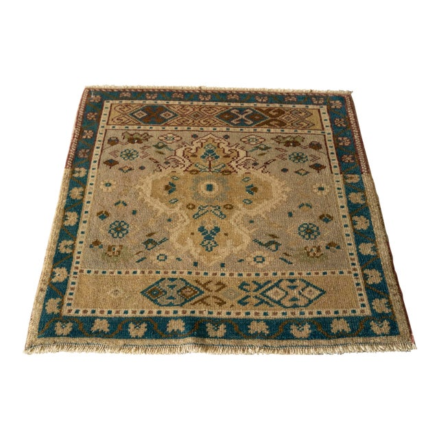 "1950s Vintage 'Verrill' Turkish Oushak Rug- 2'3"" x 2'3"" For Sale"