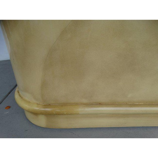 1980s Karl Springer Attributed 1970's Lacquered Goatskin Extension Table For Sale - Image 5 of 7