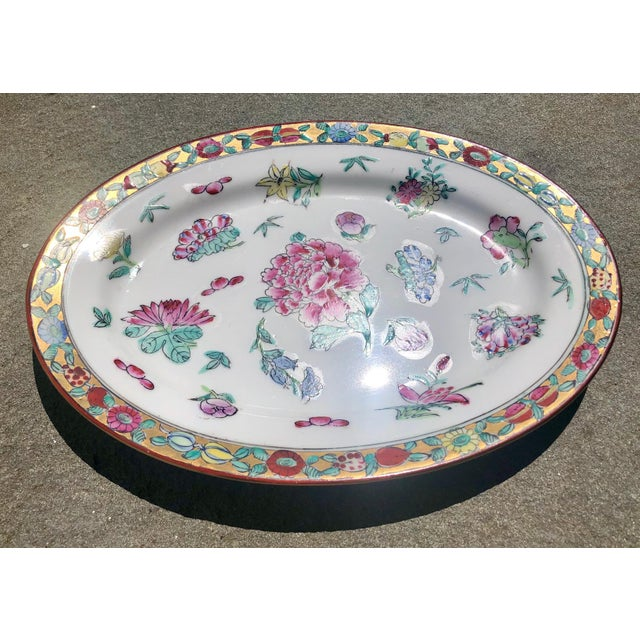 Colorful Floral Gilt Chinoiserie Peony Platter For Sale In New York - Image 6 of 9