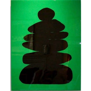 Minimalist Glossy Cairn Silhouette on Kelly Green by Stephanie Henderson For Sale
