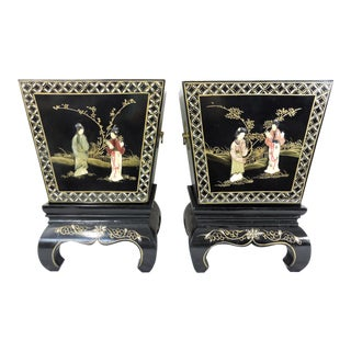 Vintage Chinese Black Lacquer and Soapstone Hand Painted Figural Landscaped Planters & Stands - a Pair For Sale