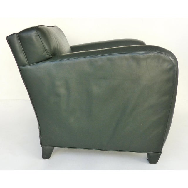 1990s Donghia Leather Club Chairs From the Main Street Collection in Forest Green For Sale - Image 5 of 9