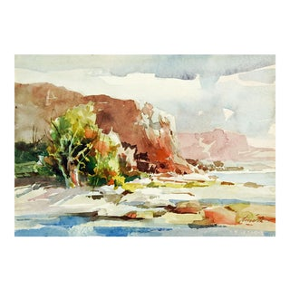 1970s Impressionist Southwest Big Bend Watercolor Painting by Leroy Smith For Sale