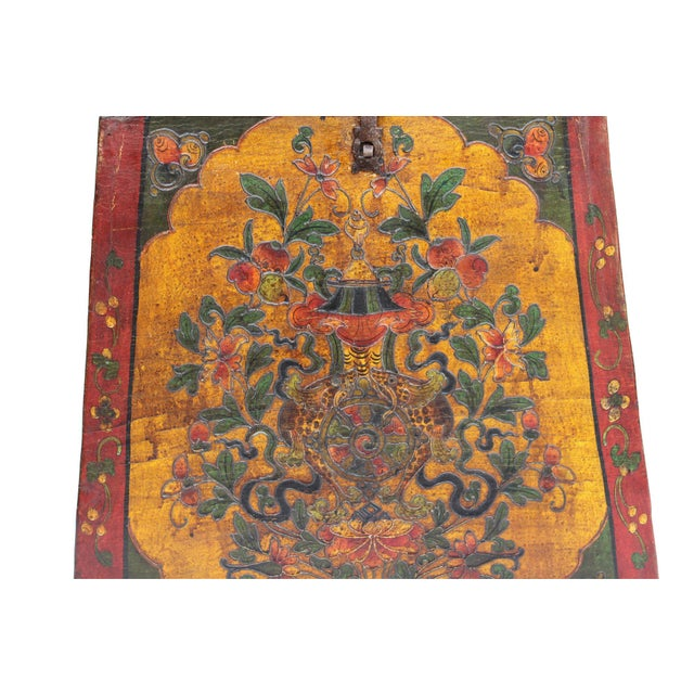 Wood Chinese Tibetan Red Yellow Floral Graphic Trunk Box Table For Sale - Image 7 of 9