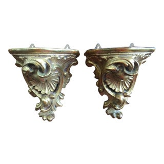 Rococo Style Gilt Terra Cotta Shelf Brackets - a Pair For Sale