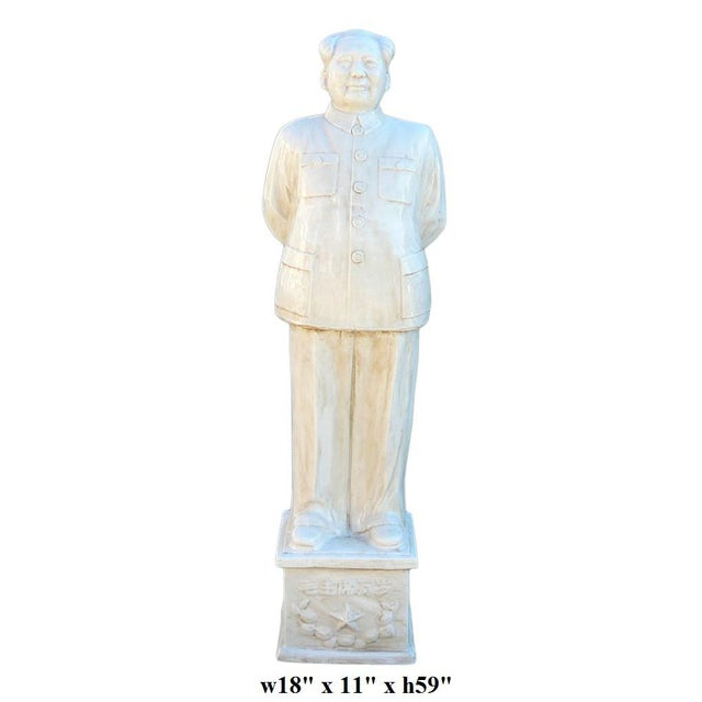 Ceramic Chinese Large Porcelain White Standing Chairman Mao Figure cs1212 For Sale - Image 7 of 7