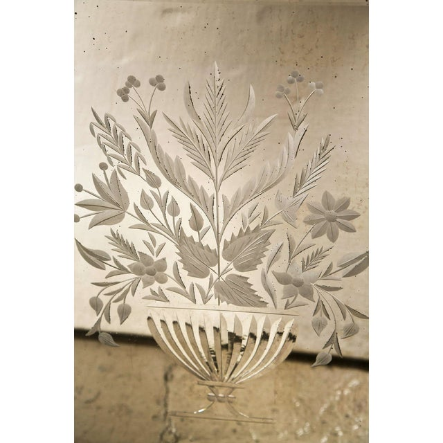 Shabby Chic Decorative Framed Floral Etching Mirror For Sale - Image 3 of 6