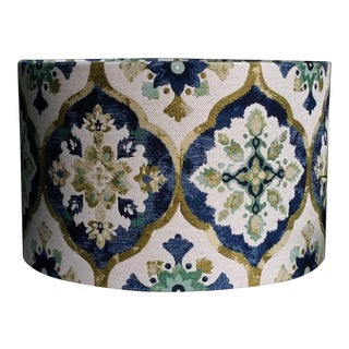 Indigo Blue Lampshade Large Drum With Sage and Olive Green Oatmeal Base For Sale
