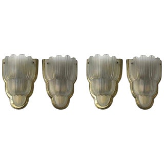 """French Art Deco """"Waterfall"""" Sconces Signed by Sabino - Set of 4 For Sale"""