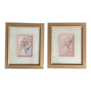 Late 20th Century Leonardo Da Vinci Women Portrait Framed Prints - A Pair For Sale