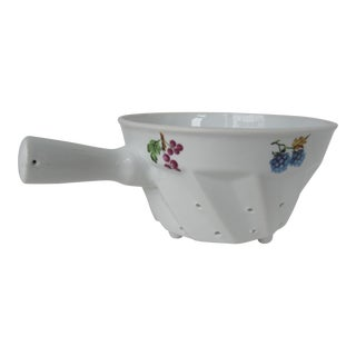 Vintage Porcelain Strainer with Fruit For Sale